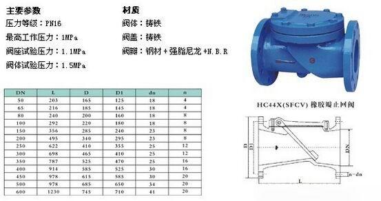 橡胶瓣止回阀hc44x(sfcv).h44x结构图纸