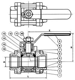 三片式球阀结构图纸