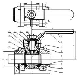 Q61F三片式对焊球阀结构图