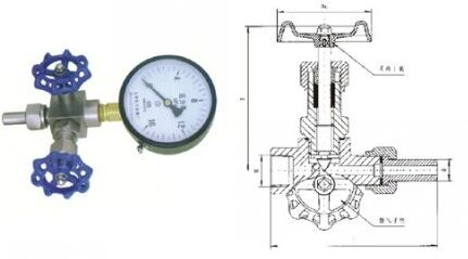 j19h压力表针型阀结构图纸