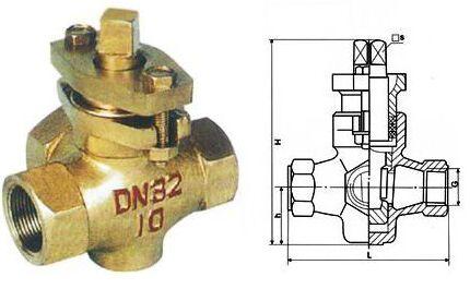 X14W-1.0T三通内螺纹全铜旋塞阀图纸