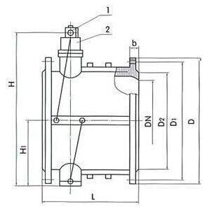 hh48x微阻缓闭蝶型消声止回阀结构图纸