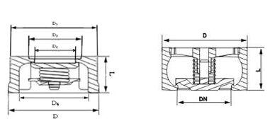H71W,H71H不锈钢对夹式止回阀结构图纸