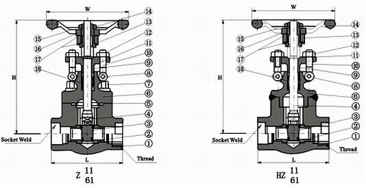内螺纹与承插焊闸阀结构图纸